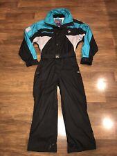 Vtg 80s Women Small BLACK BEAR One piece SKI SUIT Snow Bib Snowsuit Retro Gaper