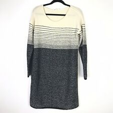 Athleta Womens Fireside Sweater Dress Size  Large Merino Wool Cream Black Stripe