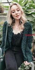 Woman Zara Green Textured Tweed Blazer Autumn Cardigan Jacket Size Xs 6