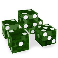 Green 19mm Casino Precision Craps Serialized Razor Edged Dice - Stick of 5 NEW