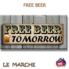"🍺 ""FREE Beer Tomorrow"" - Wooden BAR Plaque / Sign (FREE POST) 🍺"