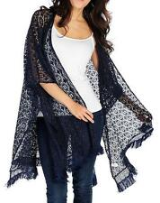 NEW - OSO Casuals® Knit Mesh Side Seam Slit Fringe Trimmed Open Front Shawl - 1X