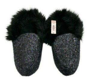 Victorias Secret Black Glitter Sparkle Faux Fur Lined Slides Slippers