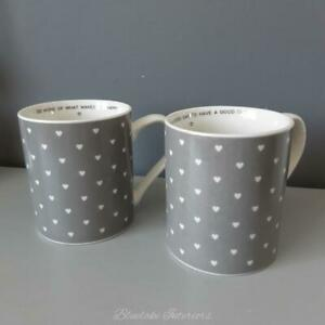 Set Of 2 Love Quote Grey Heart Mugs