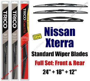Wiper Blades 3pk Front Rear Standard - fit 2005-2015 Nissan Xterra 30240/180/12B