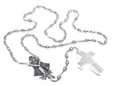 Mens 14k White Gold 14.60ct White & Black Diamond Praying Hands & Cross Rosary