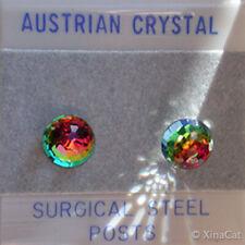 6mm Austrian Crystal VM Rainbow Disco Ball Stud Earrings on stainless steel