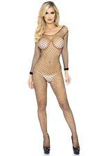 Black Net Long Sleeve Bodystocking Leg Avenue 8380 Bodysuit Fishnet Industrial