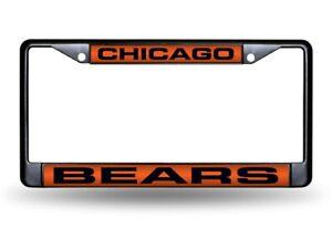 Chicago Bears Black Metal Laser Cut License Plate Frame