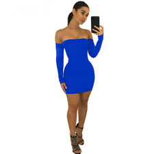 USA Women Sexy Back Lace UP Off the Shoulder Mini Body con Club Mini Dress