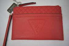 GUESS RED CLUTCH/ WRISTLET LOGO EMBOSSED NEW WITH TAG