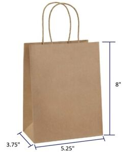100 50 20 PC 5.25x3.75x8 Brown or White Kraft Paper Bag Party Shopping Gift Bags