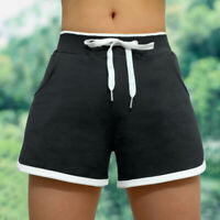 Women's Casual Running Yoga Shorts With Pockets  GYM Drawstring Soft Hot Pants