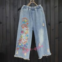 Womens Embroidery Wide Leg Pants Floral Jeans Loose Denim Baggy Cropped Trousers