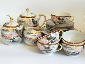 Vintage CPO Hand-Painted Moriage Tea Set - 20 Piece Set