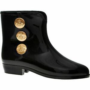 VIVIENNE WESTWOOD + MELISSA Women's Stud Booties, Wellies, Black sizes UK 6