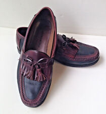 JOHNSTON & MURPHY Black Brown Leather Moc Toe Kiltie Tassel Loafer Shoes Men 9.5