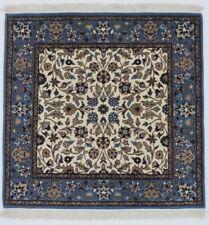 Cream Plush Square Hand-Knotted Kirman 3X3 Oriental Home Décor Area Rug Carpet