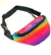 Children Kids PVC Rainbow Small Shiny Bum Bag Fanny Pack Money Pouch Belt