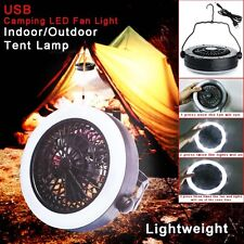 Outdoor Multifunction Portable USB Camping Hiking LED Fan Light Tent Lamp W/Hook