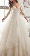 New Champagne V Neck Tulle Wedding Dress A Line Lace Beach Bridal Gown Plus Size