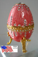 "Jeweld Trinket Box Footed  Egg Russian Style Pink 3 3/8""(8cm) Lion claw"