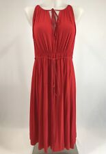 Country Road Red Dress Size Small Sleeveless Gathered Waist Belted