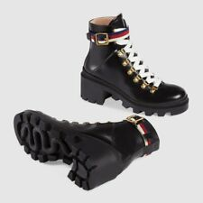 GUCCI 'Sylvie' Ankle Web Leather Combat Boots Black/White/Blue/Red Sz 38/US 8