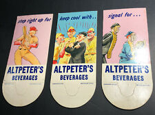 Lot Of 3 Diff Altpeter Beverage Soda Bottle Topper Sign Baseball Players C 1940s