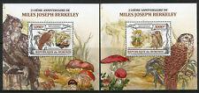 Burundi 2013 MNH Miles Joseph Berkeley 2x 1v Deluxe S/S Owls Mushrooms Stamps