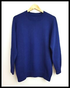 Hand Knitted Women's Blue Wool Stretch Knit Long Sleeve Jumper Pullover M 12-14