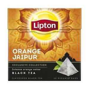 Lipton Orange Jaipur 20 Pyramid Luxury Tea Bags with Real Tea Leaves 4 Boxes