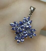 9ct White Gold AA Tanzanite Pendant Marquise Cut Necklace Flower No Chain