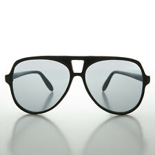 Flat top 80s Aviator Vintage Sunglass Transition Lens Black - Kurt