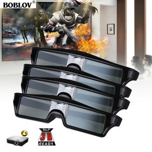 4x BOBLOV DLP Active Shutter Glasses Rechargeable Movie 96-144Hz for Acer Optoma