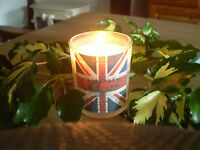 Organic Soya Wax Union Jack Flag Herb Rosemary & Thyme scented Candle