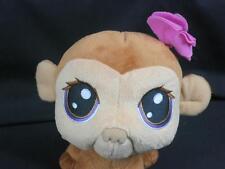 BIG HEAD LITTLEST PETSHOP BROWN BABY MONKEY PLUSH STUFFED ANIMAL GIRL PINK BOW