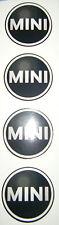 4 X MINI BLACK ALLOY WHEEL CENTRES STICKERS BADGES CAR 50MM FREE UK POSTAGE