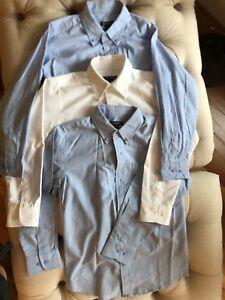 12 Pcs Sz 10-12 Boys Uniform/Dress Shirts blu & wht & Bottoms Navy & Khki + Tie