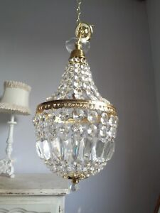 ~~ pretty vintage crystal tent and bag chandelier ~~