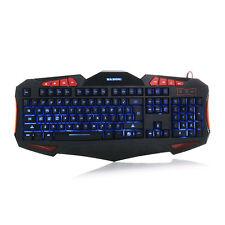 Wire Ergonomic Gaming Keyboard 7 Color LED Backlight Illuminated Multimedia USB