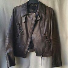 NWT Coach 85080 XS X-small Slim Moto Biker Leather Jacket Brown Dusty Olive