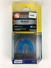 Mouthguard Shock Doctor Sports Protection Braces Strapless Youth 11- Blue 4100Y