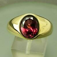 3Ct Brilliant Oval Cut Red Garnet Mens Solitaire Ring in 14K Yellow Gold Finish