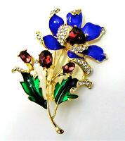Gorgeous! FLOWER Rhinestone DEEP Purple Retro Vintage Necklace Pendant Brooch