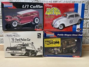 Plastic Model 4 Kit Lot, 4 Model Cars 1:24/25 Scale Parts Junkyard, Please Read