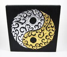 Tableau Ying Yang Noir et Or / Argent - 30X30 - TB020