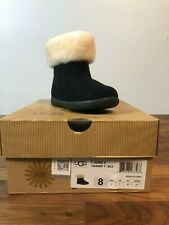 Ugg Todler Jorie Ii Suede and Sheepskin Black Boot Size 8 Brand New in Box