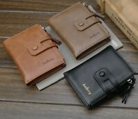 Baellerry Men's PU leather short Buckle Zipper Wallet Coin ID Credit Card Holder