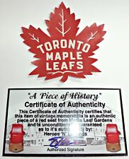 TORONTO MAPLE LEAFS PATCH MADE FROM MAPLE LEAF GARDENS RED SEAT & FELT W/ COA